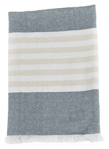 Turkish Towel Badetuch - navy/oatmeal
