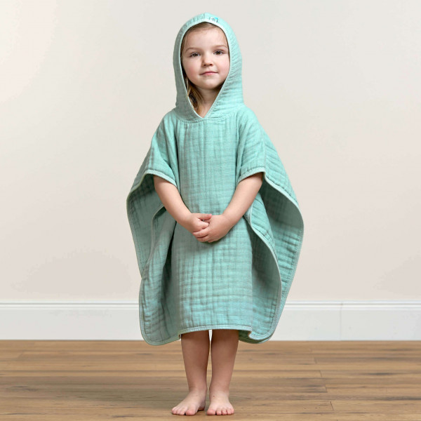 (KONFIGURATOR) Kinder Badeponcho aus Mull in Mint